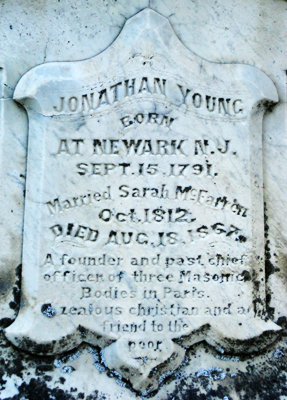 Words on Jonathan Young's tombstone