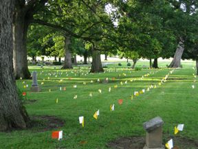 Flags Mark Pioneer Graves